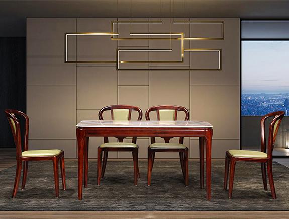KT910餐桌KY616餐椅康锐家居新中式实木餐台椅子