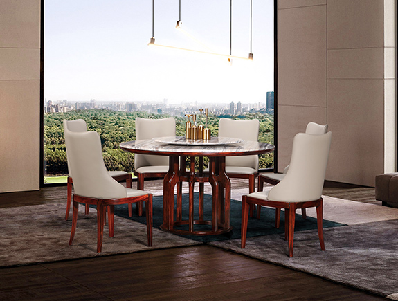 KT916餐桌KY605餐椅康锐家居新中式实木餐台椅子