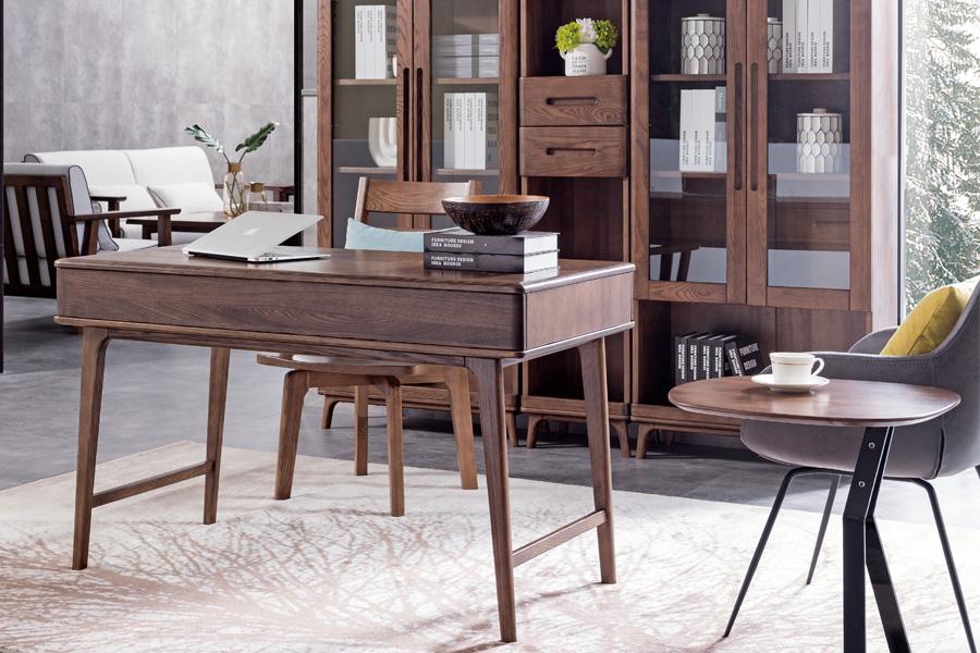 HF-E05书台北欧原木北欧风格实木书桌