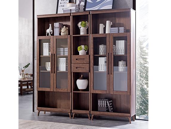 HF-E08单门书柜HF-E09双门书柜北欧原木北欧风格实木书柜