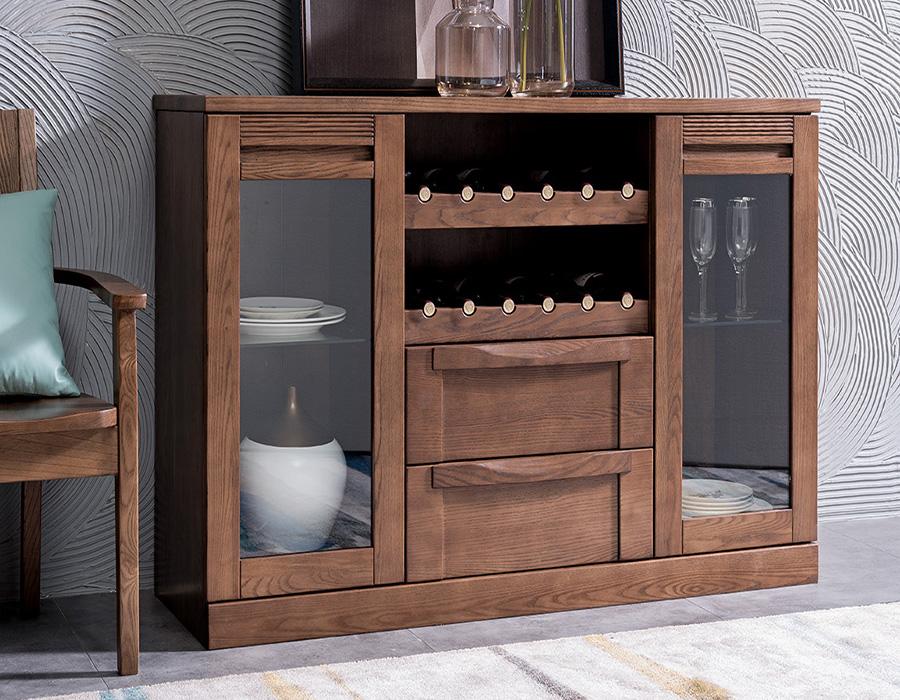 HF-C02北欧原木餐柜北欧风格餐边柜柜子酒柜实木家具