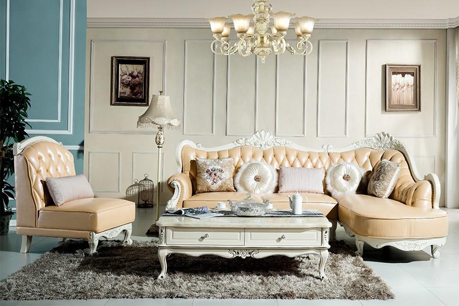 S819欧奢沙发欧式风格真皮沙发单人位三人位贵妃位