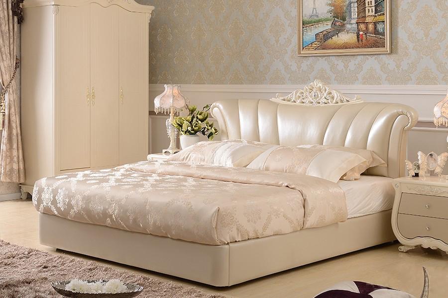201B欧奢皮床欧式风格真皮软床
