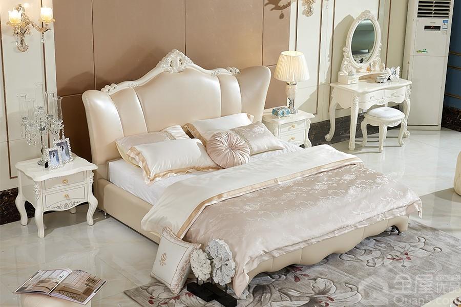237欧奢皮床欧式风格真皮软床