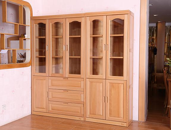 A-3013书柜尚木北欧风格双门书柜三门书柜实木书柜