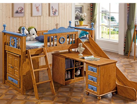 810半高床810半高床书台810半高床衣柜夏洛特地中海风格实木床书桌实木衣柜