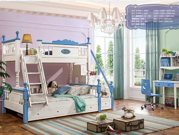 811夏洛特上下床地中海风格实木床子母床双层床儿童床