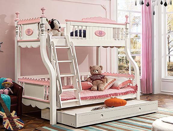 812夏洛特上下床床地中海风格实木床子母床双层床儿童床