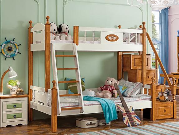 818夏洛特上下床地中海风格实木床双层床子母床儿童床